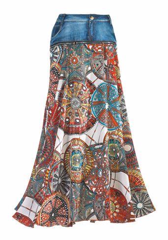 Комбинирование джинсовой юбки и вязания