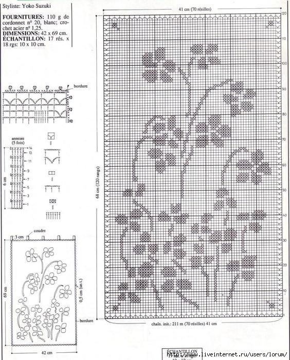 Схема занавеска филейное вязание
