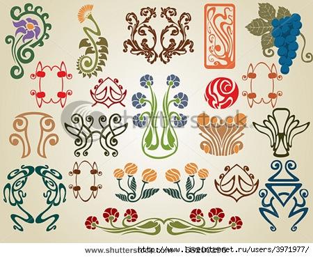 Art deco floral wallpaper