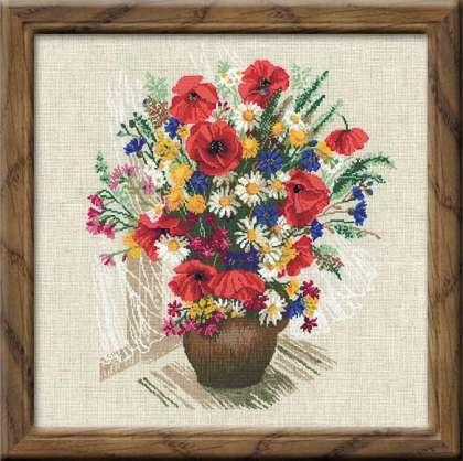 букет полевых цветов. вышивка