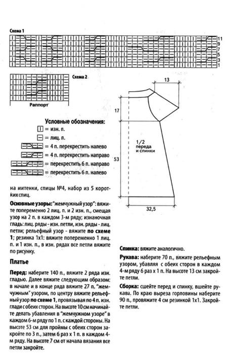 Вязанные спицами туники-платья фото схемы