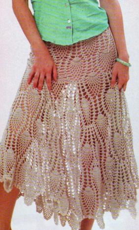 Ажурная юбка крючком,много