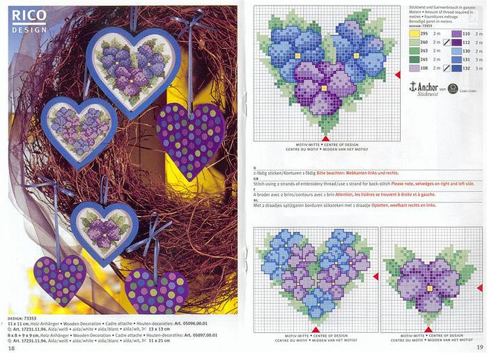 Схемы вышивок к Дню Валентина.  Новогодние открытки вышитые своими руками.  Бабочки.  Вышивка крестиком (Схемы).