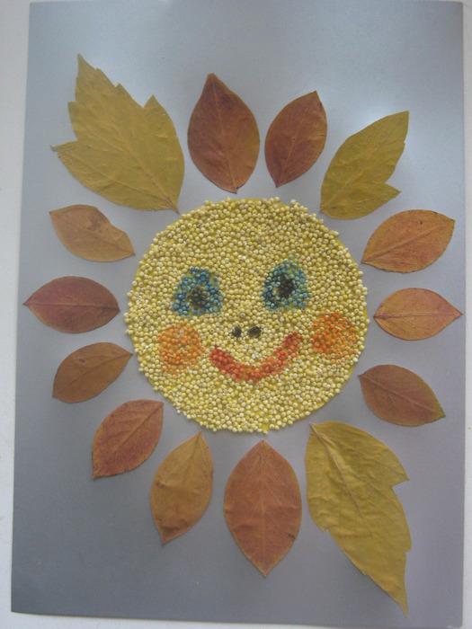 Как сделать из сухих листьев картинки