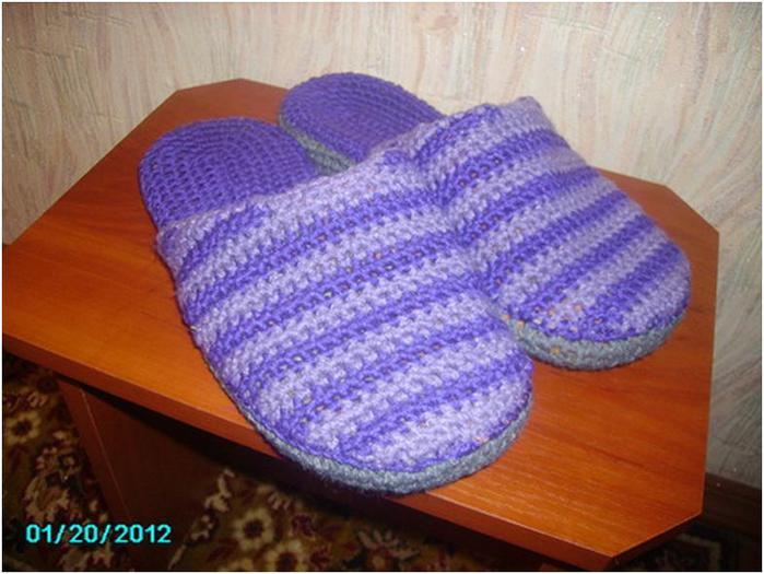 Вязание спицами комнатные тапочки 5