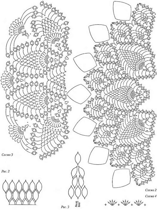 Вязаное платье ананасы крючком схемы