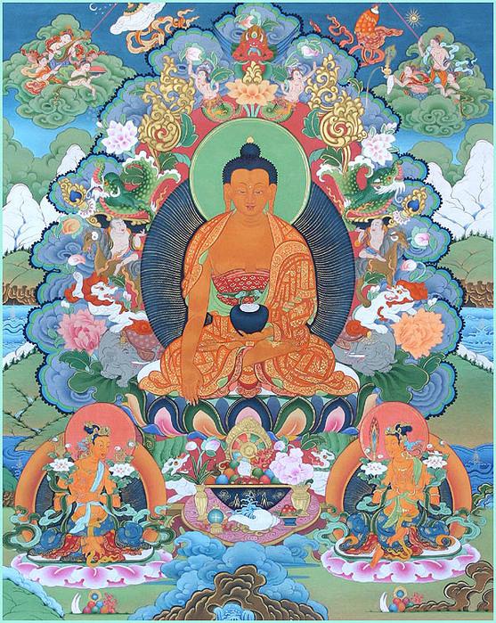 Thangka Buddha, Maitreya and Manjushri (557x700, 283Kb)