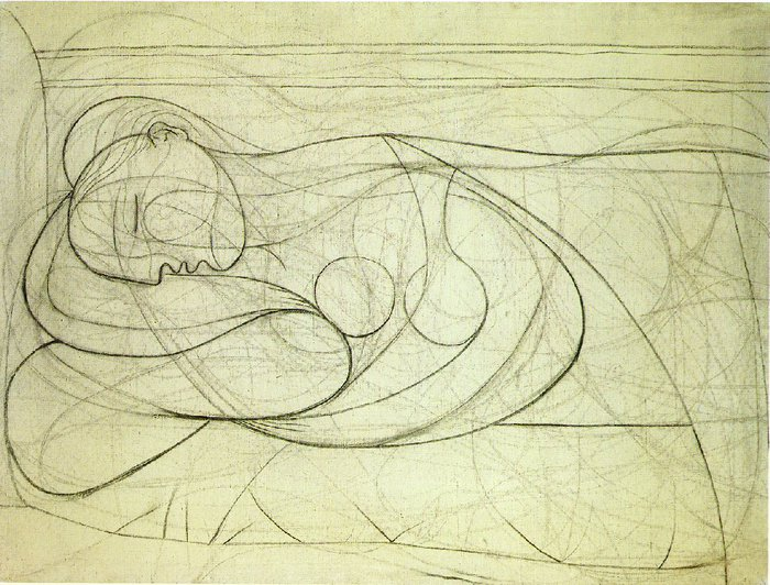 Picasso Femme nue couchee. 1932. 97 x 133 cm. Charcoal on ca (700x532, 108Kb)