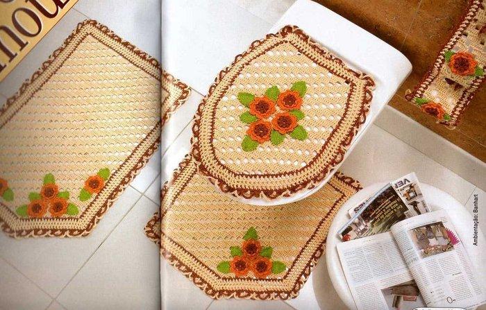 Ideas para el hogar juego de ba o en crochet completo for Comprar juego de bano completo