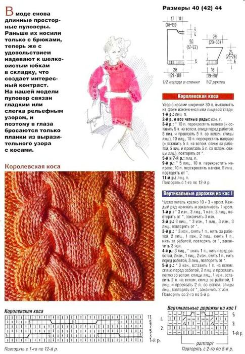 Схема вязания королевской косы спицами с описанием 66