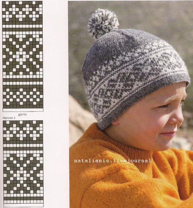 Вязание зимней шапки с узорами 30