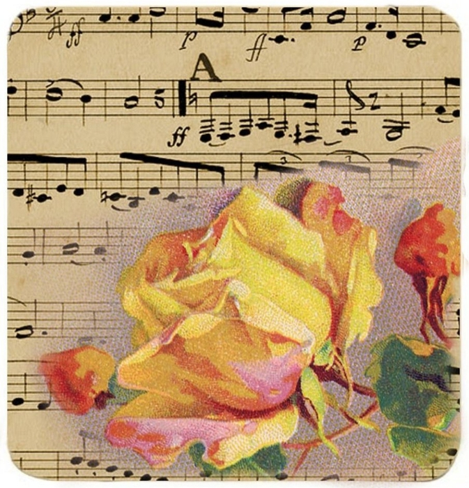 French sheet music and yellow rose tags3 (673x700, 379Kb)