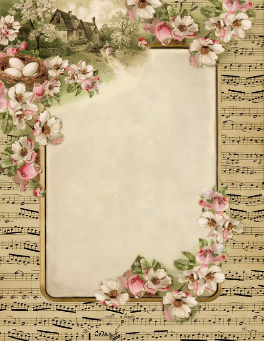 french sheet music spring cottage stationary 1 (540x700, 316Kb)
