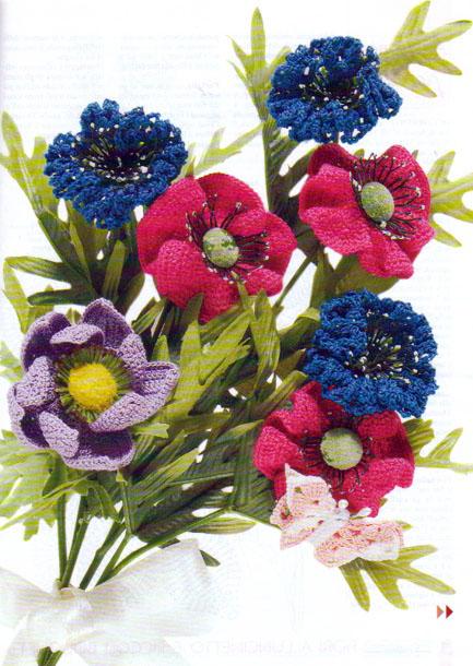 схема вязания мака.  Букет вязаных цветов.