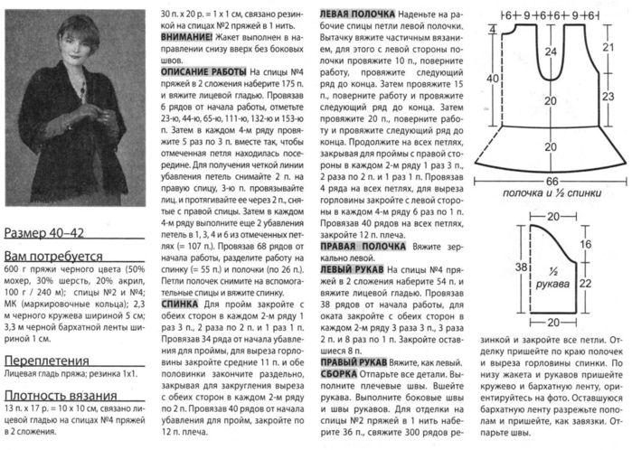 Вязание спицами жакеты из мохера для женщин с описанием и схемами