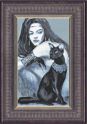 Женщина и кошка вышивка