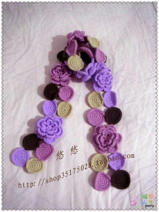 Вязание шарфов с цветами 922
