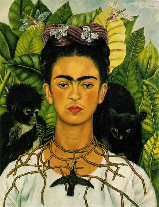 Автопортрет Фриды Кало с терновым венцом и колибри 1940 (537x699, 107Kb)