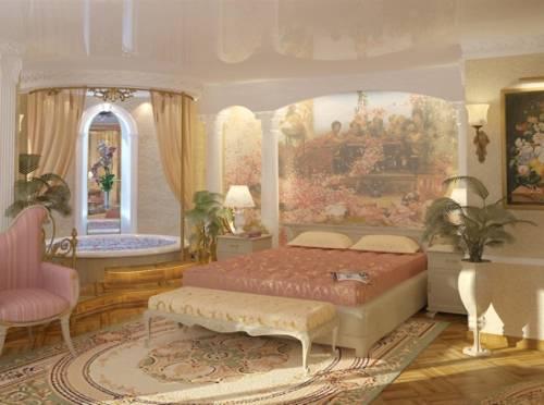 интерьер спальни в стиле ампир.