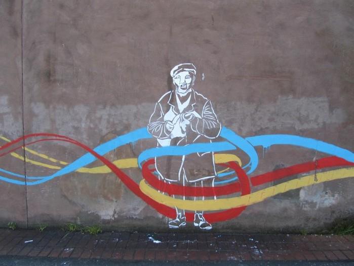 Граффити стрит-арт художника Roadsworth 15 (700x525, 77Kb)