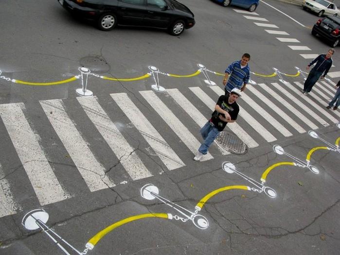 Граффити стрит-арт художника Roadsworth 23 (700x525, 106Kb)
