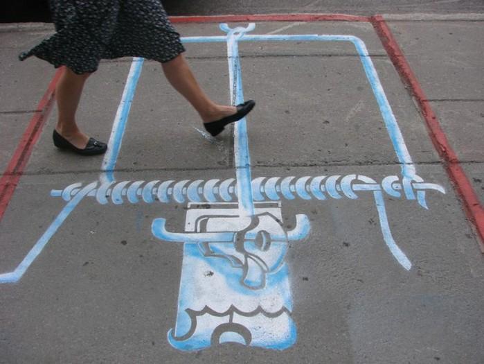 Граффити стрит-арт художника Roadsworth 31 (700x525, 90Kb)