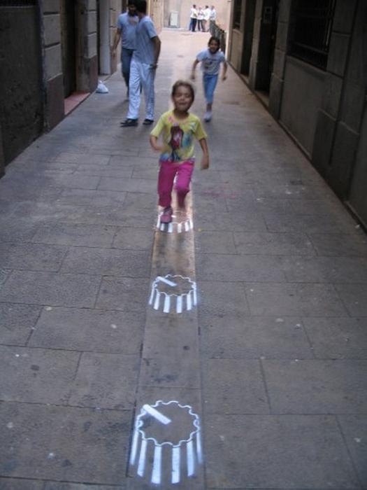 Граффити стрит-арт художника Roadsworth 71 (525x700, 265Kb)