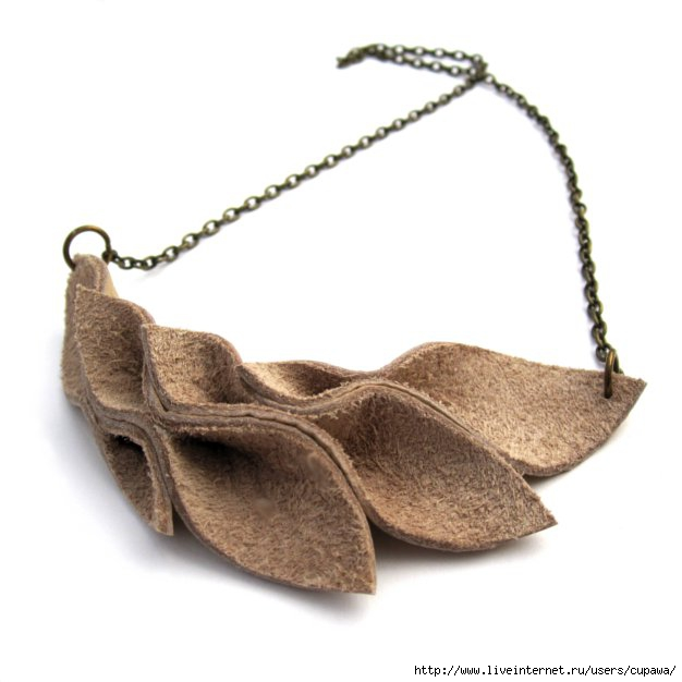 nude leather leaves necklace (626x626, 97Kb)