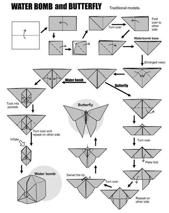 Оригами из бумаги схема бабочки