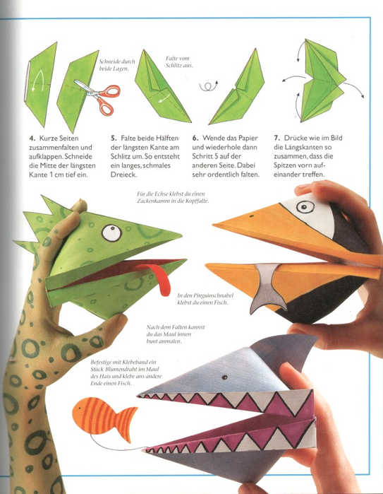 Оригами подвижные игрушки несложные