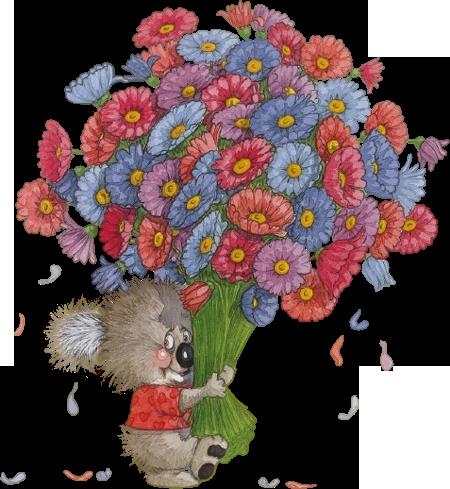 Мультяшка с цветами