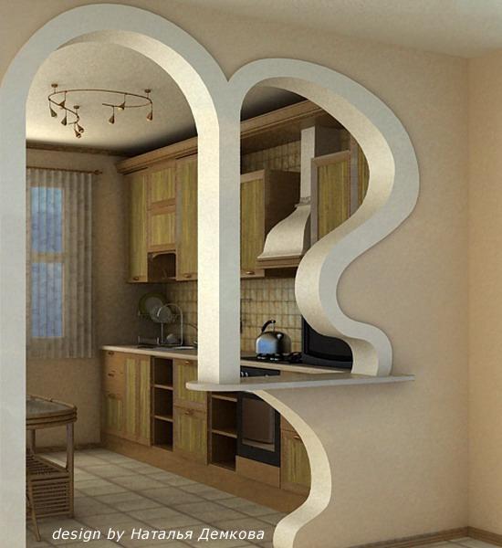 Нестандартные формы арок.  Скошенный закругленный проем, заменяющий дверь - это элементарная полуарка...