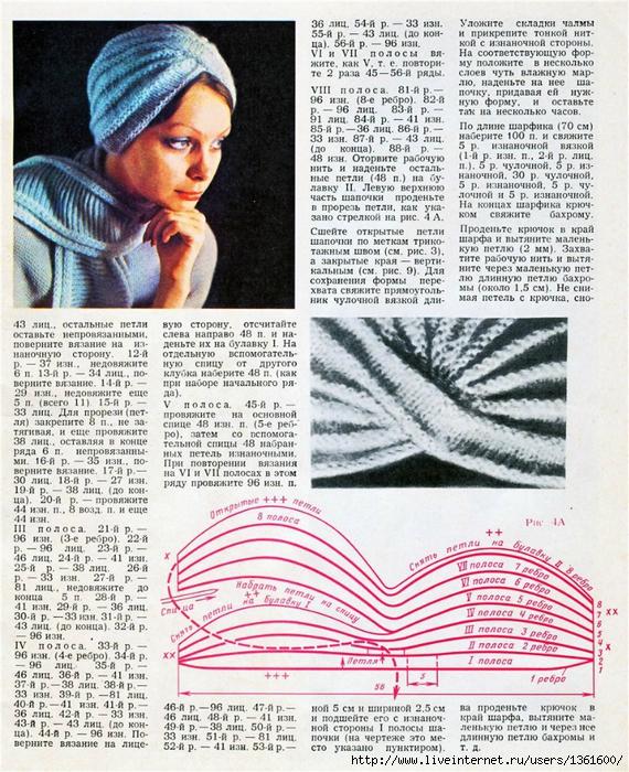Вязание спицами чалма для женщин 714