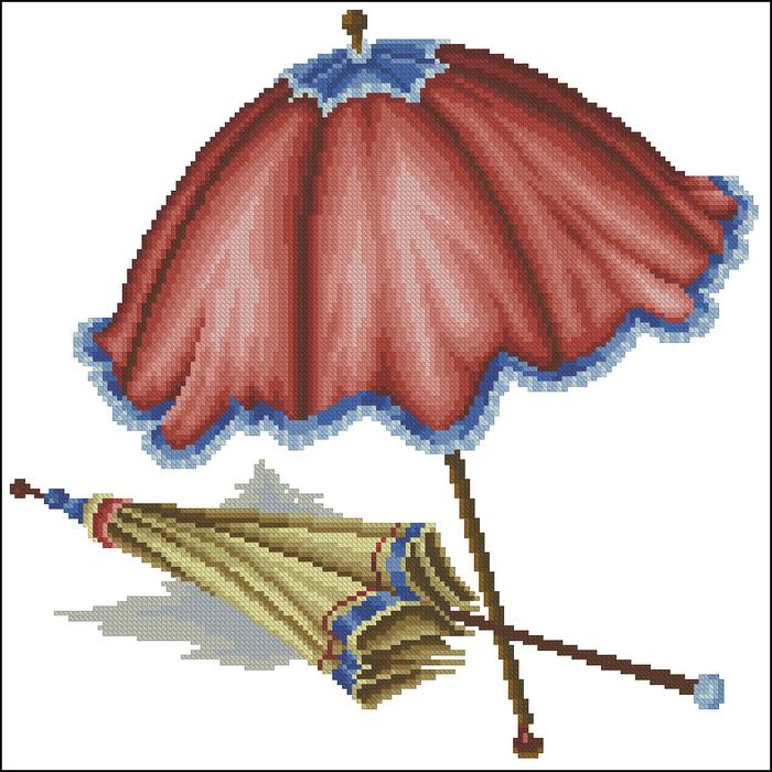 5 схем.  Шахматы, доллары, часы, зонтик.  Вышивка крестом, схемы.