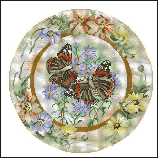 """Схема вышивки  """"Бабочки на цветке """": таблица цветов."""