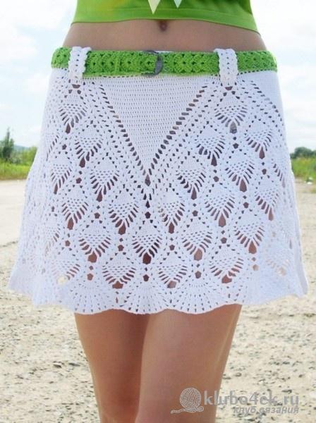 Белая юбка вязаная крючком