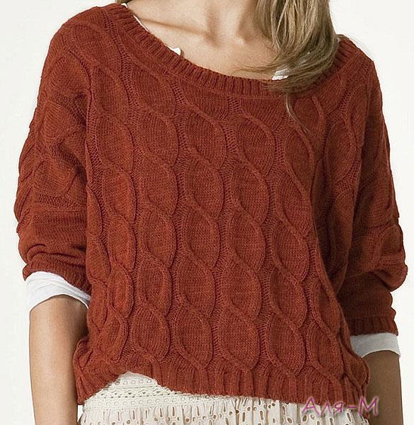 Свободный пуловер спицами Вязание спицами Pinterest
