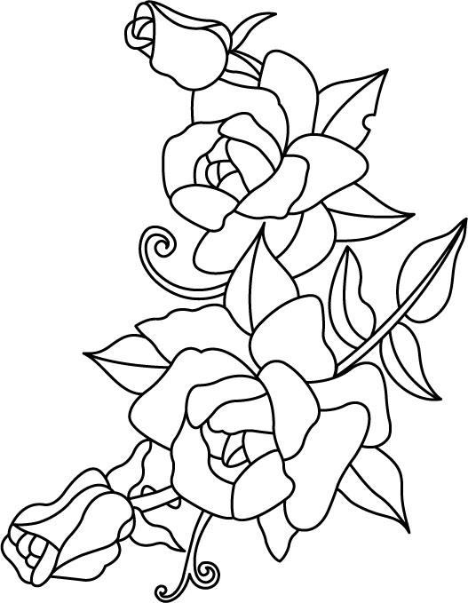 Цветы контурный рисунок