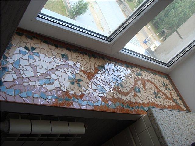 Как сделать мозаику на подоконнике.