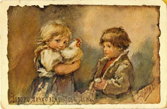 Винтажные открытки к Пасхе сделанные в России 83 (700x459, 100Kb)