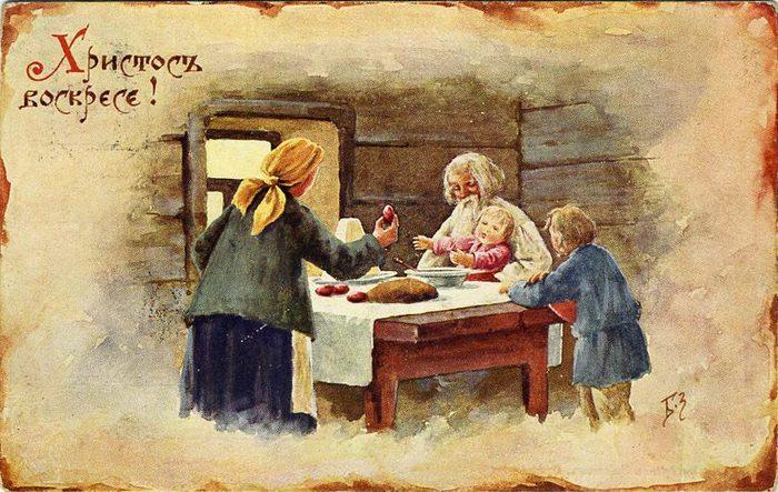 Винтажные открытки к Пасхе сделанные в России 184 (700x443, 92Kb)