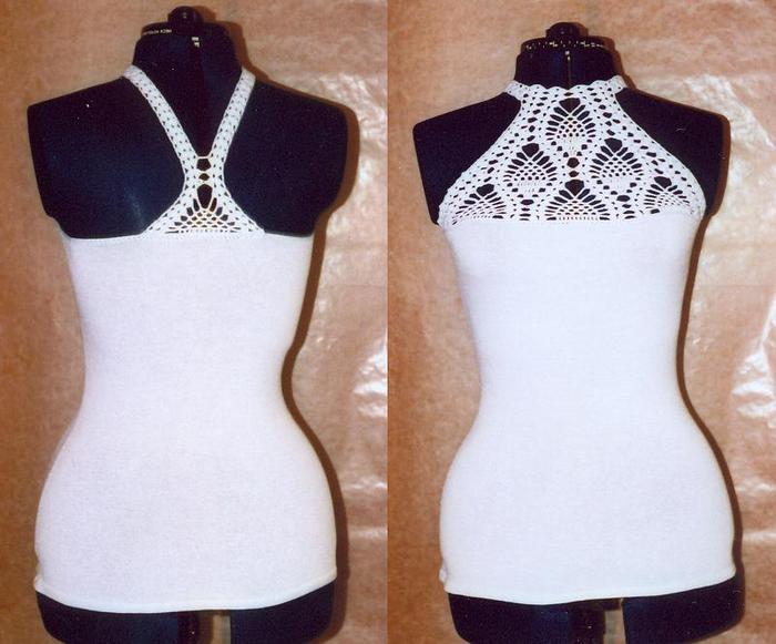 Рубрики: Вязание + Ткань Креативные Идеи.  Нашла такой классный комбинированный сарафанчик с подробнейшей схемой.