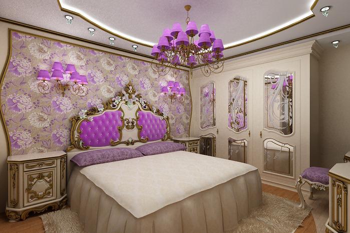 Интерьер спальни. спальня в лиловых тонах.