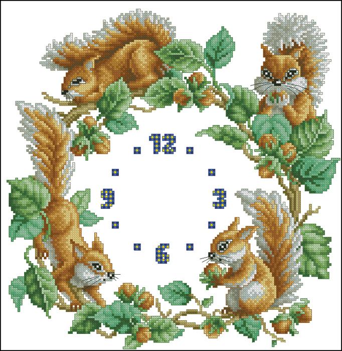 Часы белочки (682x700, 434Kb)