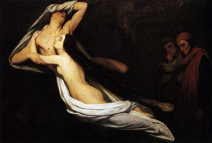 Ари Шефер - Появление призраков Паоло и Франчески да Римини перед Данте и Виргилием (680x458, 188Kb)