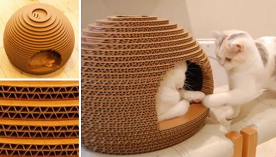 Домик для кошек своими руками из картона