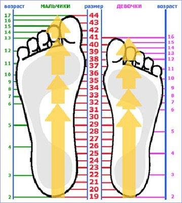 Эта таблица размеров обуви