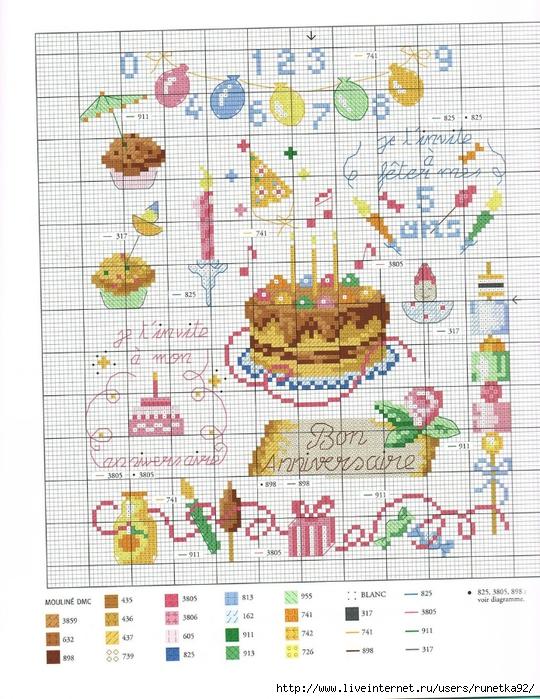Схемы вышивки открыток с днем рождения
