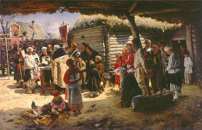 Владимир Егорович Маковский1846-1920  Молебен на Пасху 18871 (700x450, 307Kb)