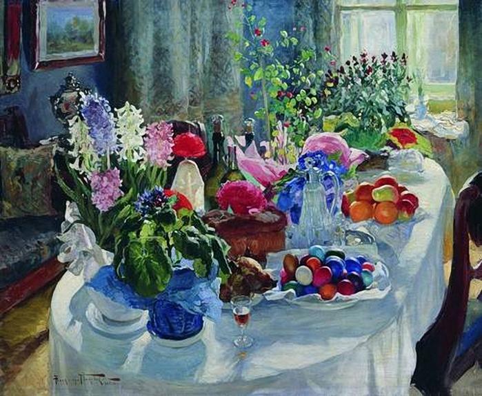 Александр Владимирович Маковский(1869-1924). Пасхальный стол. 1915-1916 (700x575, 339Kb)